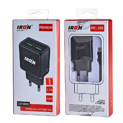 СЗУ IRON Selection Premium PM-205t (2.1A - 2 USB) с кабелем в комплекте (разъём Type-C, цвет чёрный,