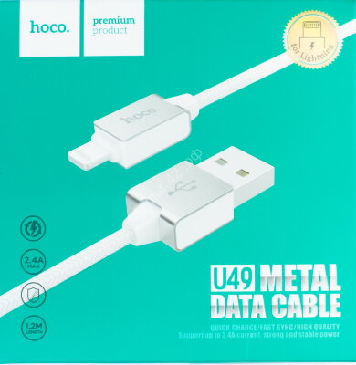 Кабель Hoco USB-LightNing 8 pin U49 белый 1м