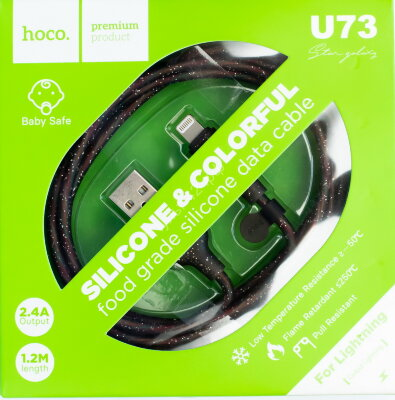 Кабель Hoco USB-LightNing 8 pin U73 чёрный 1м
